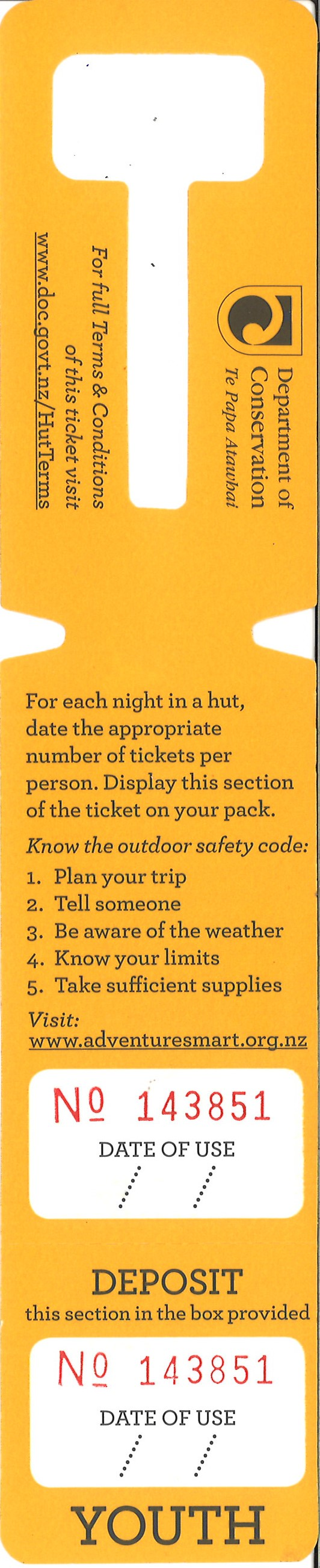 DoC Hut ticket - Standard Youth
