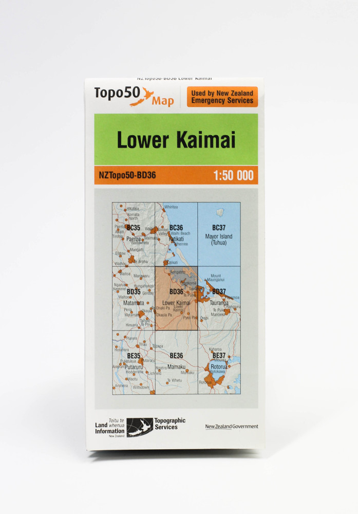 Land information NZ Topo 50-BD36 Lower Kaimai